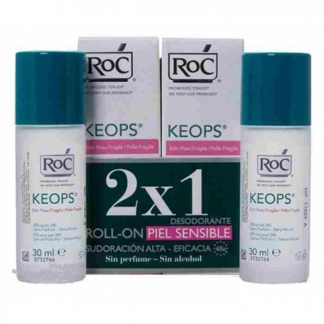 Roc Keops Desodorante Roll-on  30 ML piel sensible 2 ud