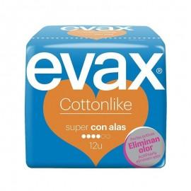 Compresas Evax cottonlike super con alas 12 unidades