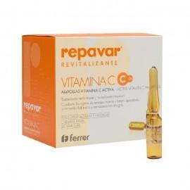 Ampollas flash Repavar revitalizante vitamina C, facial y corporal, 20 ampollas