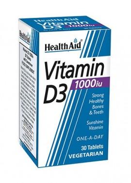 HEALTH AID VITAMINA D3 30 CAPSULAS. 1000IU