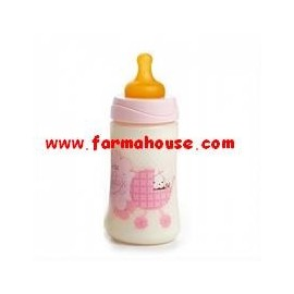 WIDE MOUTH BOTTLE WITH PINK 270ML LATEX TEAT 3 POSITION