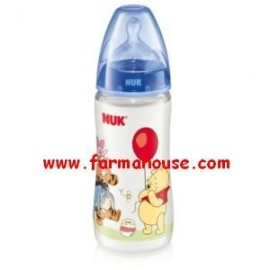 WINNIE POOH FIRST BOTTLE 300ML LATEX NUK anti-colic +0 M-COLOR